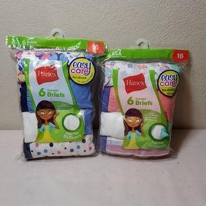 2 packages Hanes girls brief panties size 16